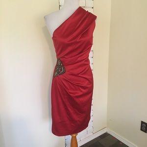 Eliza J One Shoulder Red Beaded Appliqué Dress 6